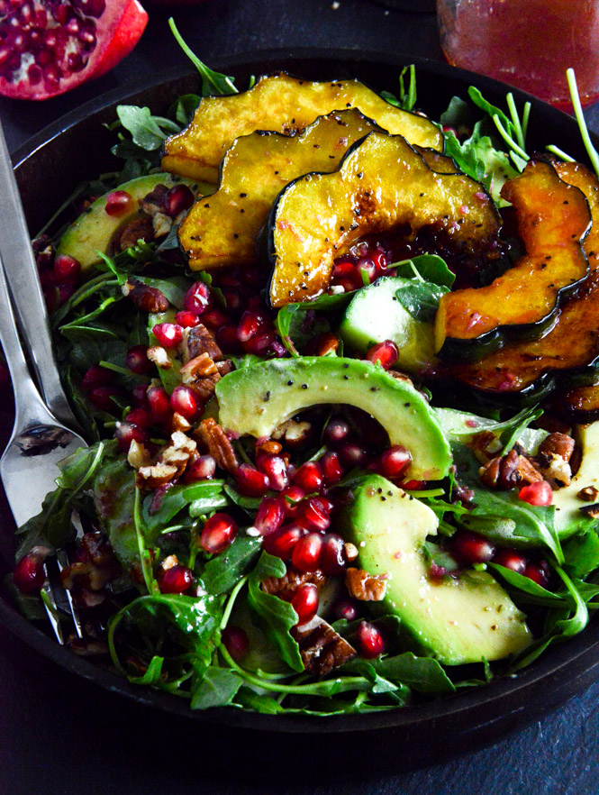 Autumn-Arugula-Salad-with-Caramelized-Squash-Spiced-Pecans-and-Pomegranate-Ginger-Vinaigrette-How Sweet It Is