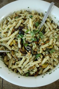 Penne Pasta zucchini chickpeas and olives via Feed Me Phoebe